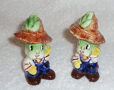 Vintage PY Anthropomorphic Celery Smiling Salt and Pepper Shakers