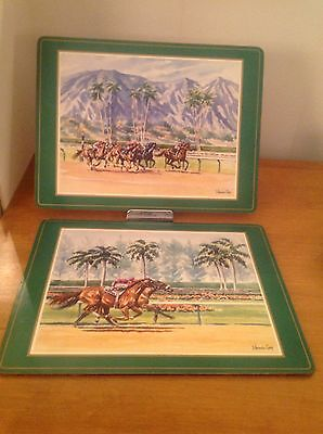 """Two Vintage Pimpernel Placemats 16"""" X 12"""" Horse Racing Cork Backing"""