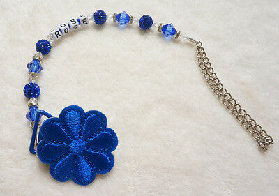 Personalised -Any name blue flower Bling Customized pacifier clips dummy clip