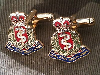 Royal Army Medical Corps Round Engraved Cufflinks in Leatherette Box