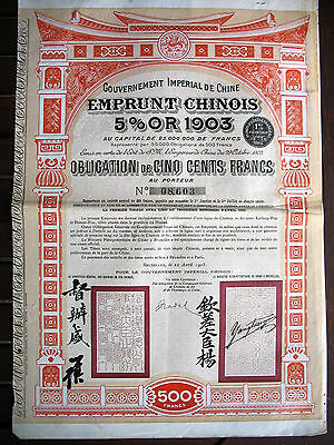 China 1905 Gover. Imperial de Chine gold bond with coupons Pien Lo railway Honan