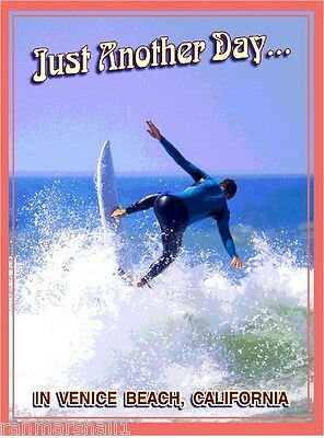 Venice Beach Surfer Surf California United States Travel Art Poster Print