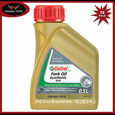 Castrol 10w Motorcycle Fork Oil Synthetic Suspension Fluids - 12x500ml = 6 Litre