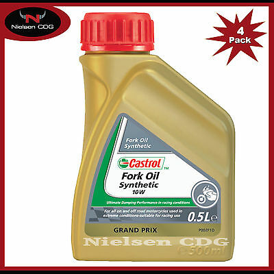 Castrol 10w Motorcycle Fork Oil Synthetic Suspension Fluid - 4x500ml = 2 Litre