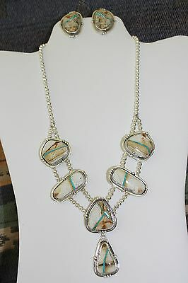 Signed Navajo Sterling Silver Boulder Turquoise Necklace & Earrings Set
