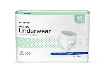 Adult Disposable Underwear Diaper, MEDIUM, HEAVY Absorbency Pull On - Case of 80