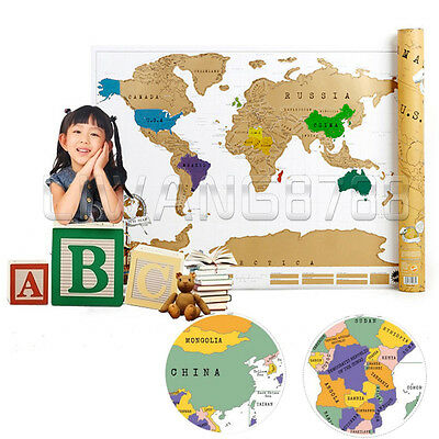 Traveling World Map Poster Travel Vacation Personal Log Gift  UK Post