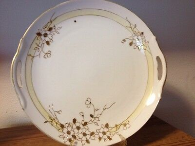 """Hand Painted White Yellow Gold Nippon Serving Plate 9 3/8"""" x 9 5/8"""""""