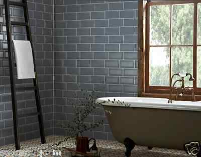 Tile Deals & Samples: Storm Blue Grey Gloss Bevelled Metro Wall Tiles 10 X 20Cm