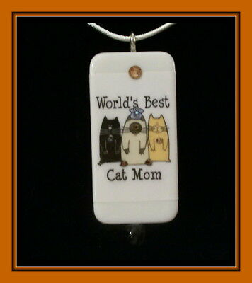 Mother's Day - World's Best Cat Mom Domino Pendant With Matching Box