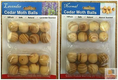 4x Packs CEDAR MOTH BALLS Wood Natural Repellent Wardrobe Mothballs 64pcs New