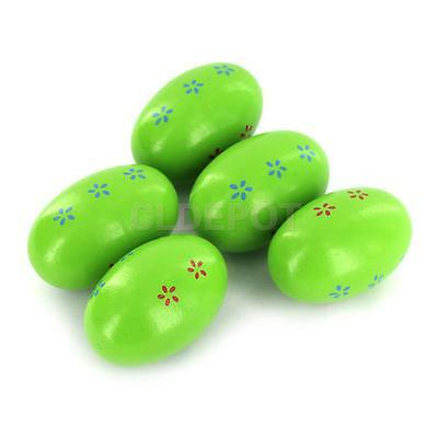 5pcs Wood Egg Maracas Shakers Musical Percussion Toy for Kids Children Green