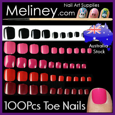 100pc Colour Toe Nails Full Cover Tips Pedicure False Art Acrylic Gel UV