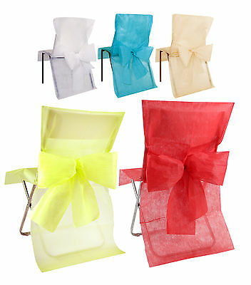 Pack 10 Disposable Chair Covers With Bow Sash Wedding Come Dine, Christmas
