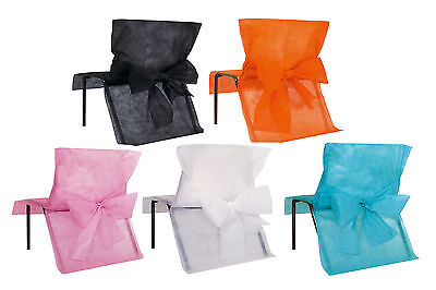 Pack 4 Disposable Chair Covers With Bow Sash Wedding Come Dine, Christmas