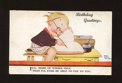 Artist MABEL LUCIE ATTWELL Set B/6  Children I.O.U. Birthday used 1935 PPC