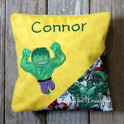 Boy's Personalized Embroidered Super Hero Green Hulk Design Tooth Fairy Pillow