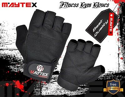 Weight Lifting Gym Gloves Black  Genuine  Leather Unisex New
