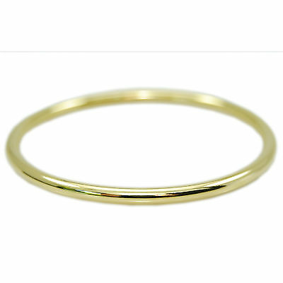 18k Yellow Gold GF Solid Round Golf Bangle Bracelet Smooth Polished 65mm Jewelry
