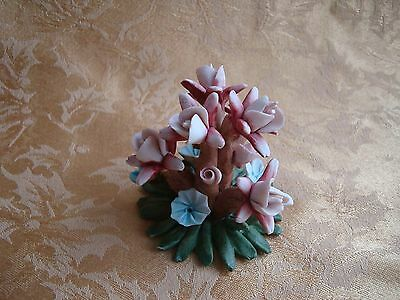 Vintage Capodimonte Porcelain Milti Color Flowers Tree Figurine - Made in Italy
