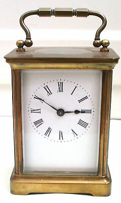 "French Brass Case Enamelled Face Timepiece Carriage Clock GWO 4.5""H 3""W 2.5""D"