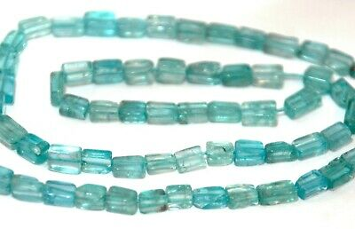 Half Strand Light Blue / Green Apatite Flat Rectangle Beads, 7 X 5 Mm, Gemstone