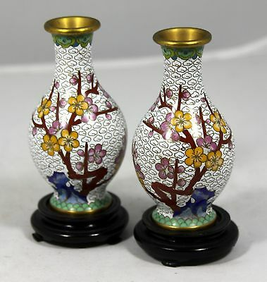 """Pair of Hand Made Miniature Cloisonne Vases  """"Mirror Image"""" with Wooden Stands"""