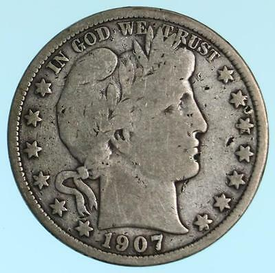 Better Date/Mint 1907-S Barber Half Dollar 90% Silver Coin Field Dings Lot E732