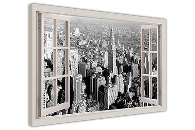 Vintage 1930S New York City Prints Window Frame Effect Canvas Wall Art Pictures