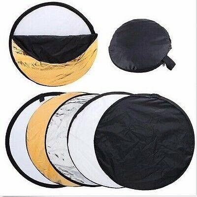 24in 60cm 5-in-1 Camera Light Multi Collapsible Disc Reflector For Photograph US