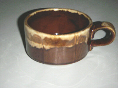 Rare Vintage Iroquois Sterling China's Caribe Pottery 14 Oz Soup Cup Brown Drip