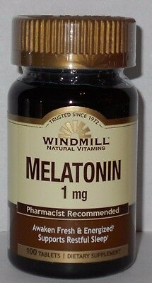 Windmill Melatonin 1mg Tablets 100ct -FREE WORLDWIDE SHIPPING- Exp. 05-2020-