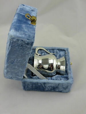 Baby Silver Plated Bell Shaped Mug In Blue Velvet Box, Great Baby Birthday Gift!