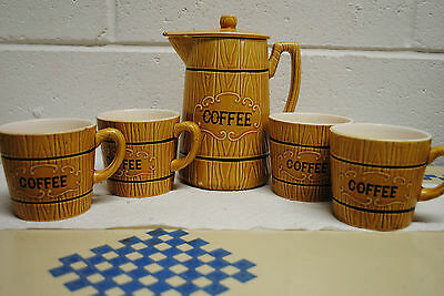 vintage coffee pot and 4 cups Royal Sealy made in Japan  6 piece set  ceramic