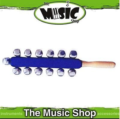 New Mano Percussion Sleigh Bells on Wooden Handle - 11 Bells - EM325