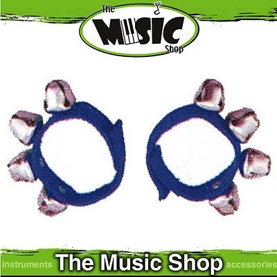New Pair of Mano Percussion Wrist Bells on Poly Straps - Blue - ED379B