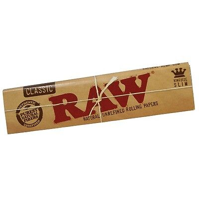Raw Classic King Size Slim Natural Unrefined Rolling Papers Smoking Tobacco