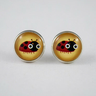 12mm Round Glass Dome Cabochon Silver Stud Earrings - Red Ladybird/Ladybug