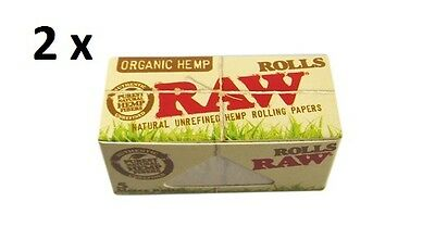 2 X Raw Organic Hemp Rolls 5 Meter Rolling Paper For Smoking Cigarette