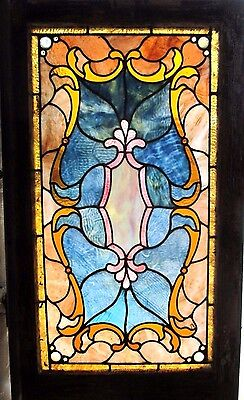 ~ ANTIQUE AMERICAN STAINED GLASS WINDOW ~ 20.5 x 36 ~ ARCHITECTURAL SALVAGE ~