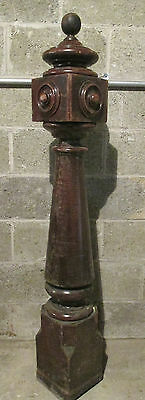 ~ Great Antique Walnut Newel Post With Finial 54 Tall ~ Architectural Salvage