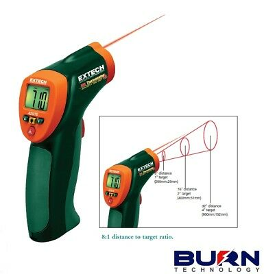 Extech 42515 IR Thermometer / Type K Input High Low Alarms 20 Point Memory 13:1