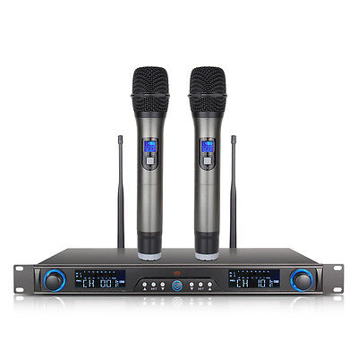 UHF 200 Channel LED PROFESSIONAL WIRELESS Microphone System 2 CORDLESS MIC ODU