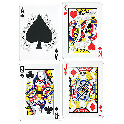 Pack of 4 Playing Card Cutouts - 44 cm - Casino Party Decorations - Double Sided