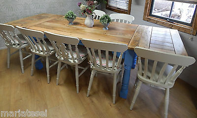 Large Rustic Farmhouse Oak Finish Kitchen Dining Table Extending 8.5ft Painted