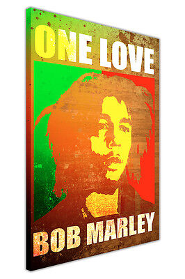 Pop Art Bob Marley Print One Love Quote Framed Canvas Prints Wall Art Pictures