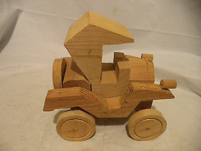 "Handmade Wood Wooden Old Style Covered Car Toy 8"" long"