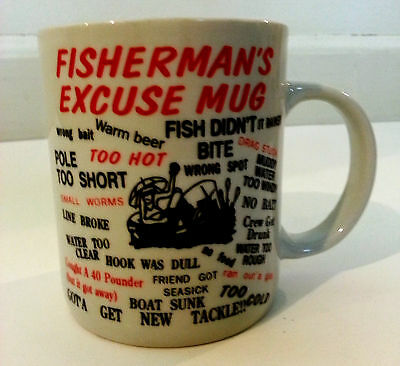 Fisherman's Excuse Mug Coffee Cup Ceramic 10 Ounce