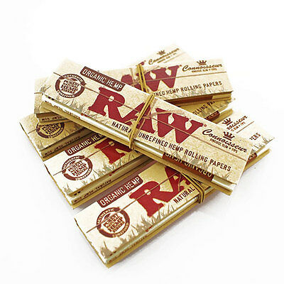 Raw Organic Hemp King Size Slim Connoisseur Natural Rolling Papers + Tips Smoke