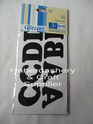 Iron On Letters 1 Pack X 40 Pieces *black No Shine*